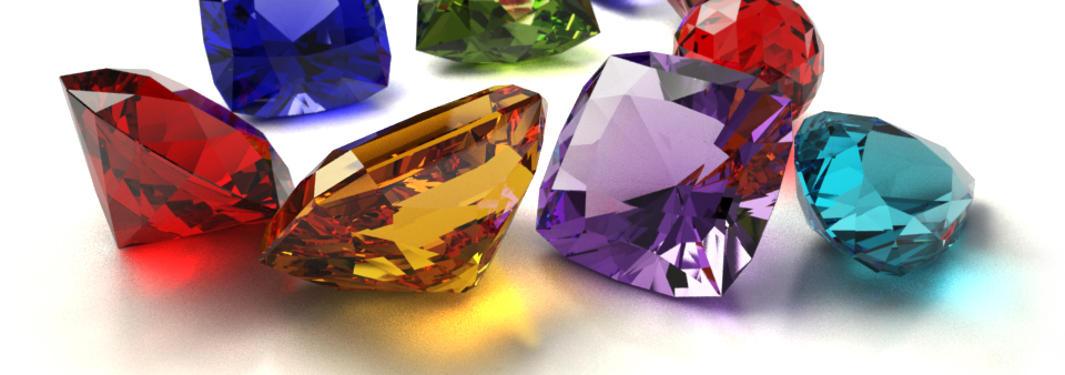 Colourful gemstones for ad campaign